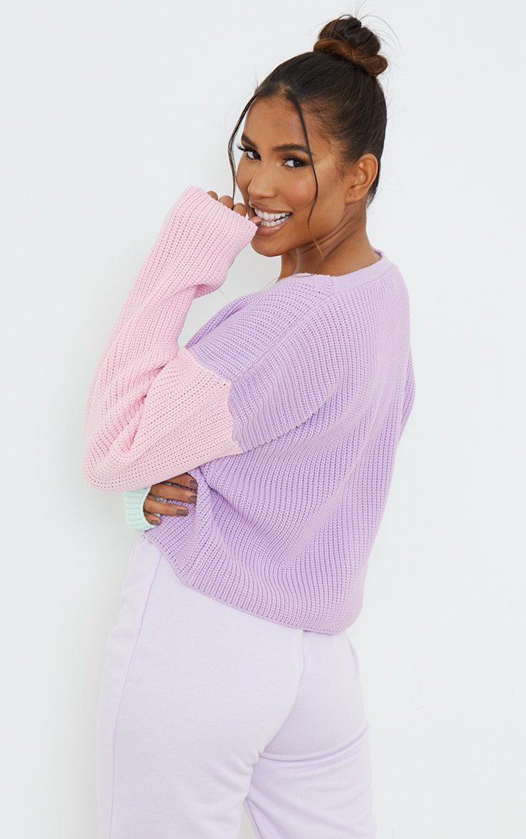 Lilac Colour Block Button Up Cropped Cardigan 2