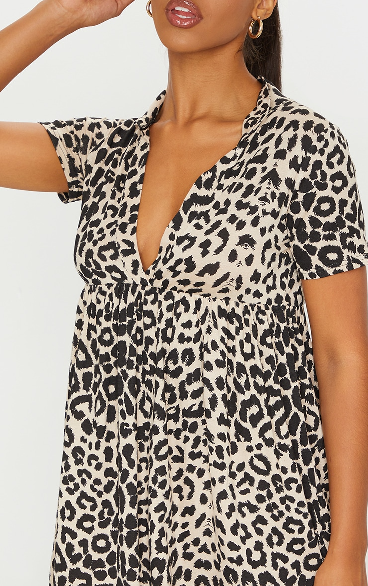 Brown Leopard Print V Neck Smock Dress 4
