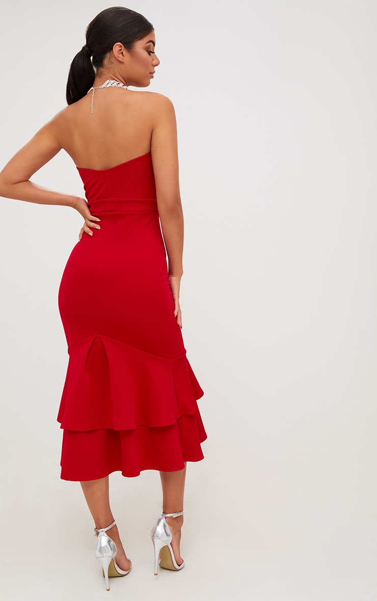 Red Scuba Bow Detail Frill Hem Midi Dress 2