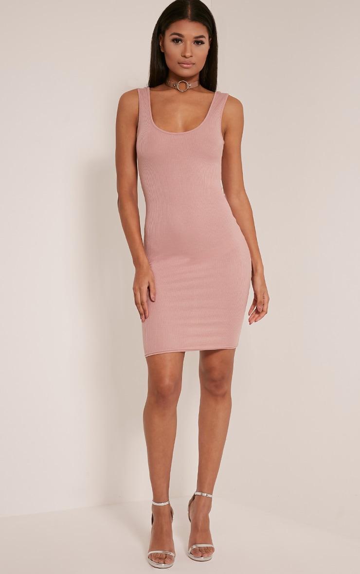 Ava Dusty Pink Ribbed Midi Dress 5