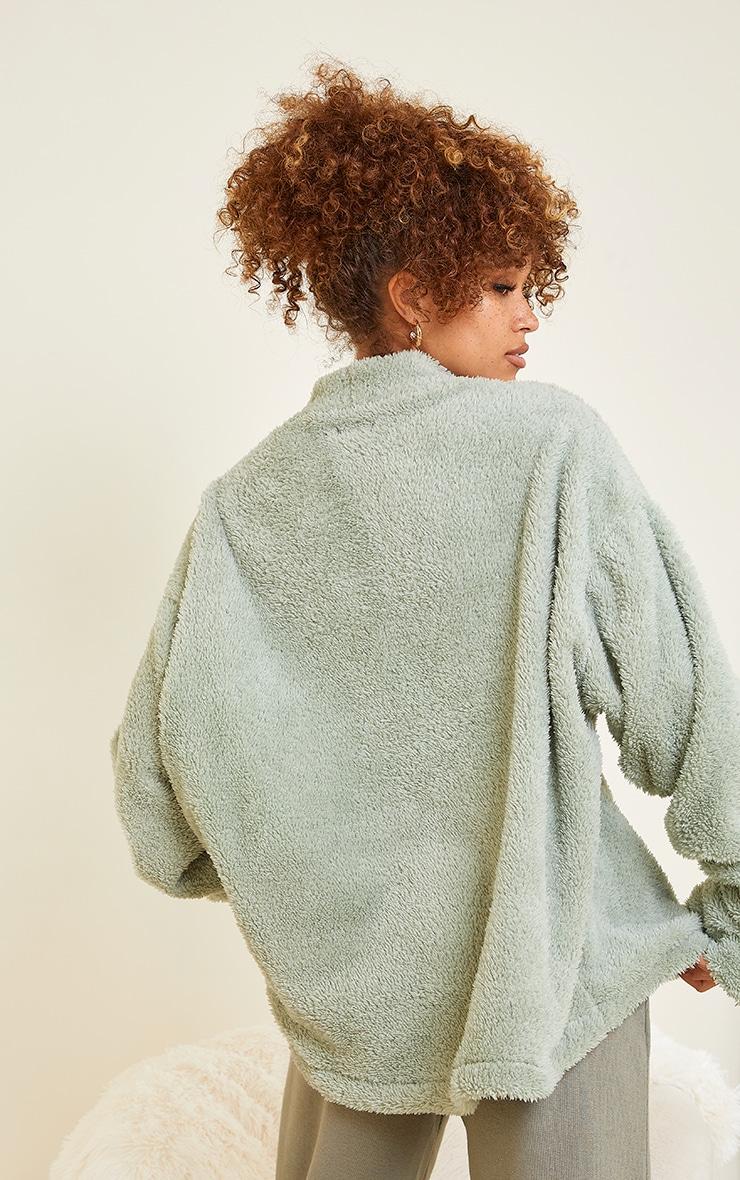 Olive High Neck Borg Sweater 2