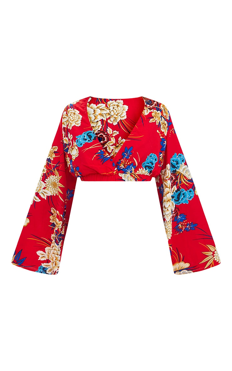 Red Floral Print Flare Sleeve Plunge Blouse 3