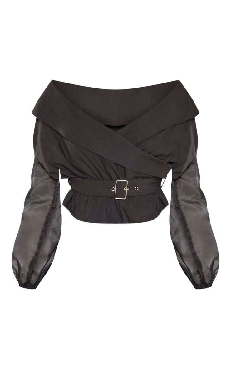 Black Bardot Organza Sleeve Crop Top 3