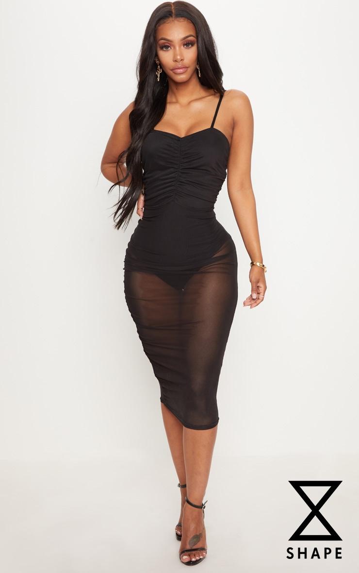 Shape Black Mesh Ruched Strappy Midi Dress 1