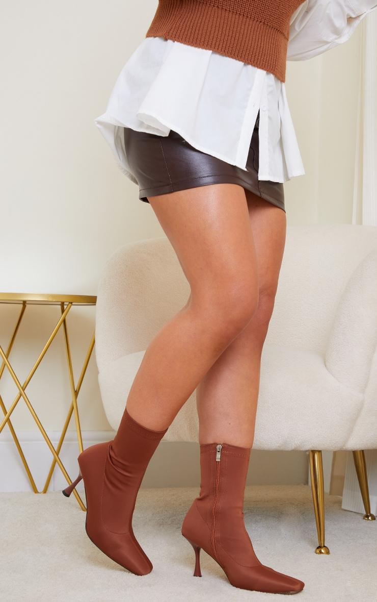 Chocolate Lycra Square Toe Mid Heel Sock Boots 2