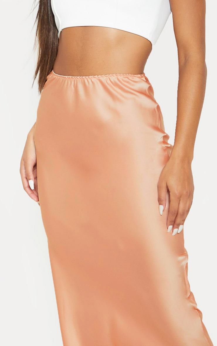 Peach Satin Midi Skirt  6