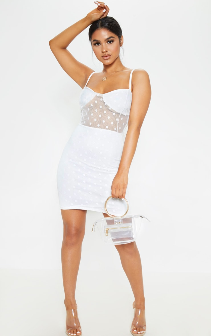 Petite White Polkadot Dobby Mesh Bodycon Dress 4