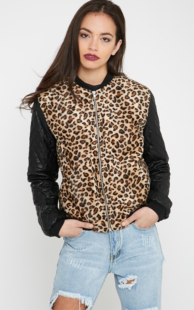Kathryn Leopard & Leather Bomber Jacket 1
