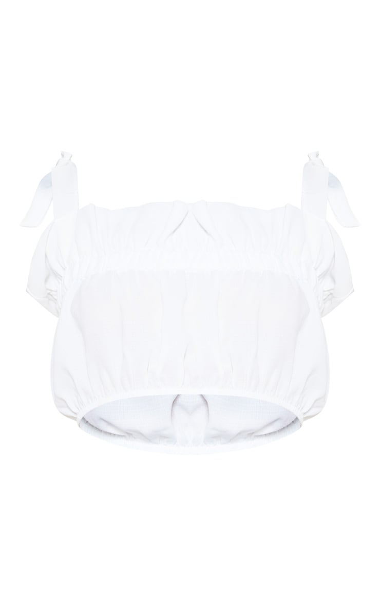 White Woven Frill Tie Detail Top 3