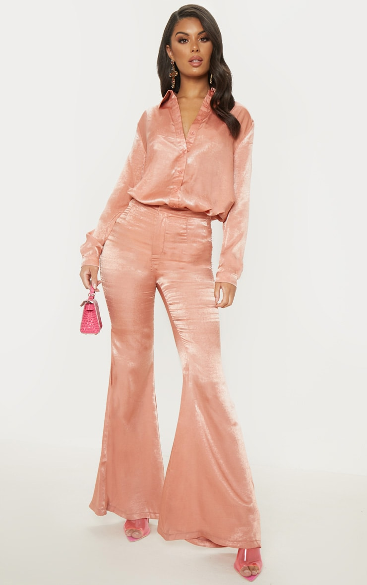 Peach Satin High Waisted Flare Leg Trouser
