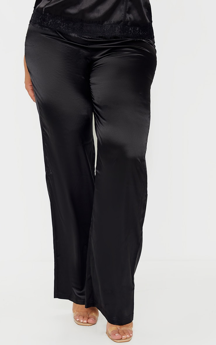 Plus Black Satin Wide Leg Fit Pants  2