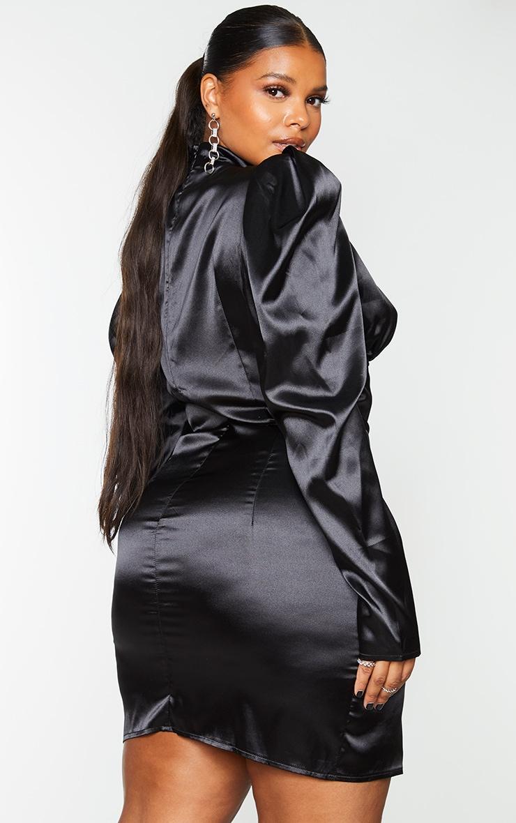 Plus Black Satin High Neck Underbust Detail Bodycon Dress 2