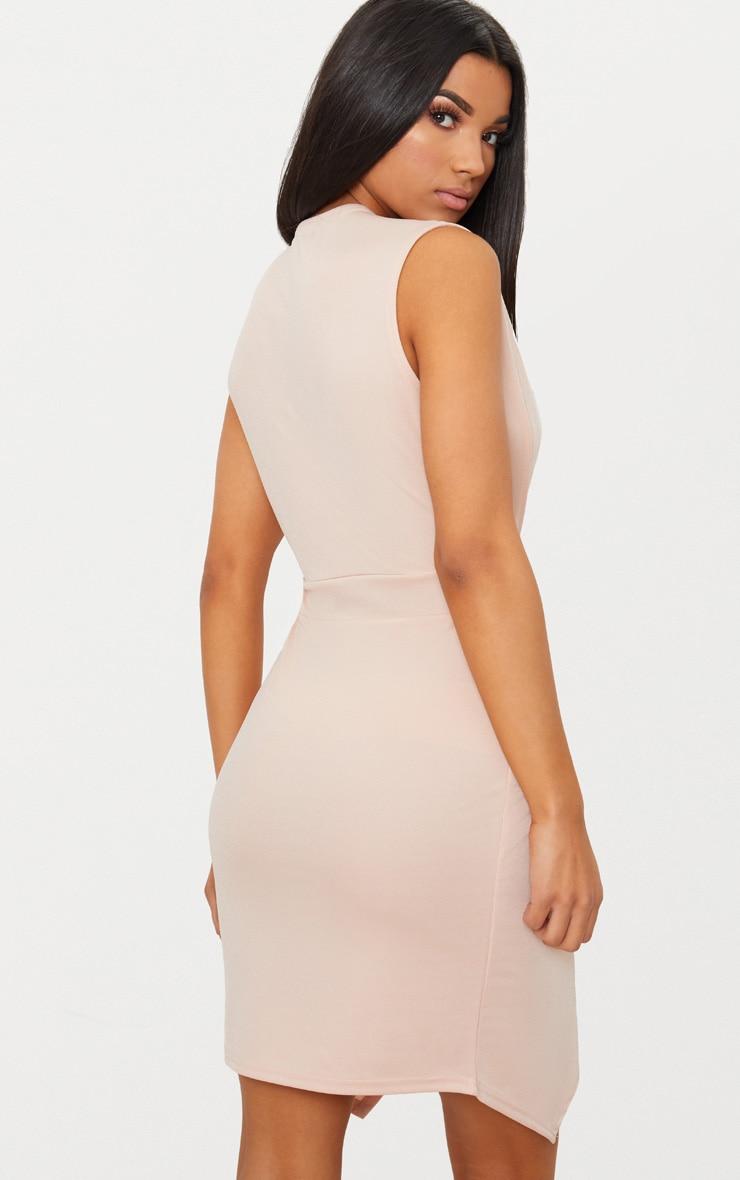 Nude Plunge Pointy Hem Wrap Bodycon Dress 3