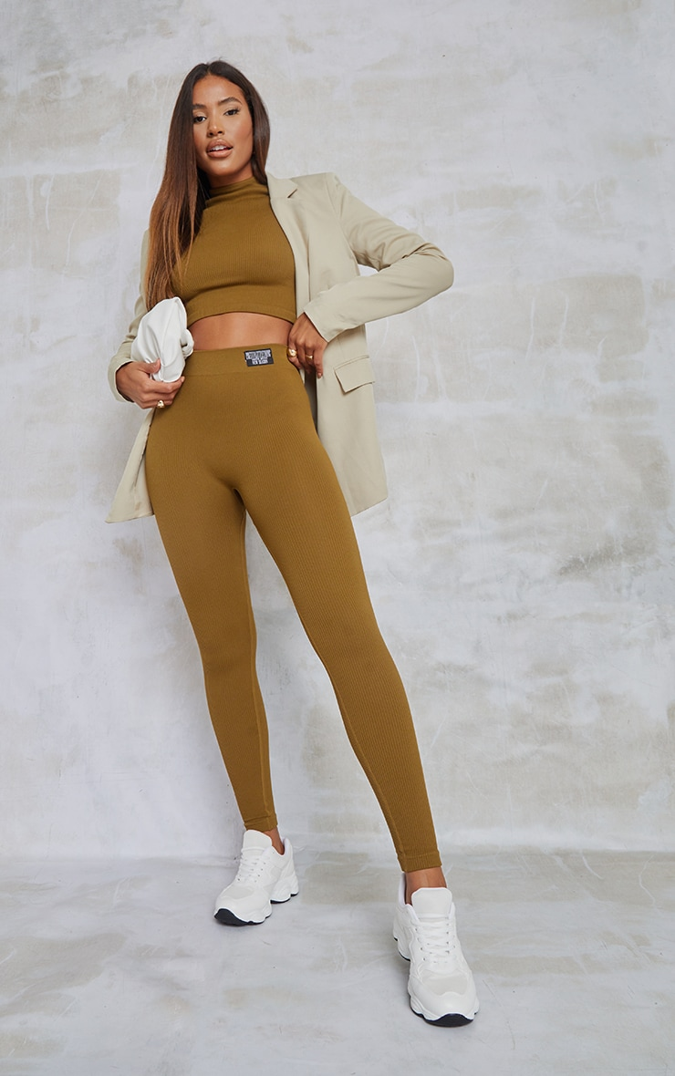 PRETTYLITTLETHING Olive Contour Ribbed Leggings 1