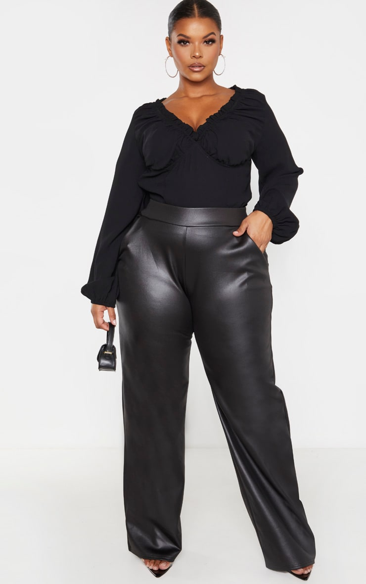Plus Black PU Wide Leg Trouser 1