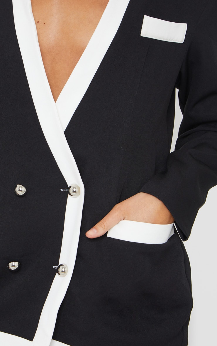 Black Military Contrast Oversized Blazer 4