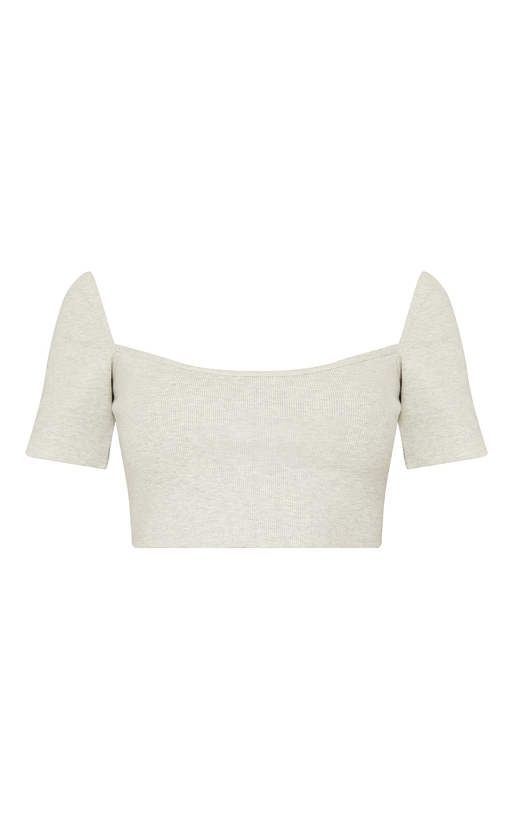 Oatmeal Rib Square Neck Bust Stitch Detail Crop Top 5