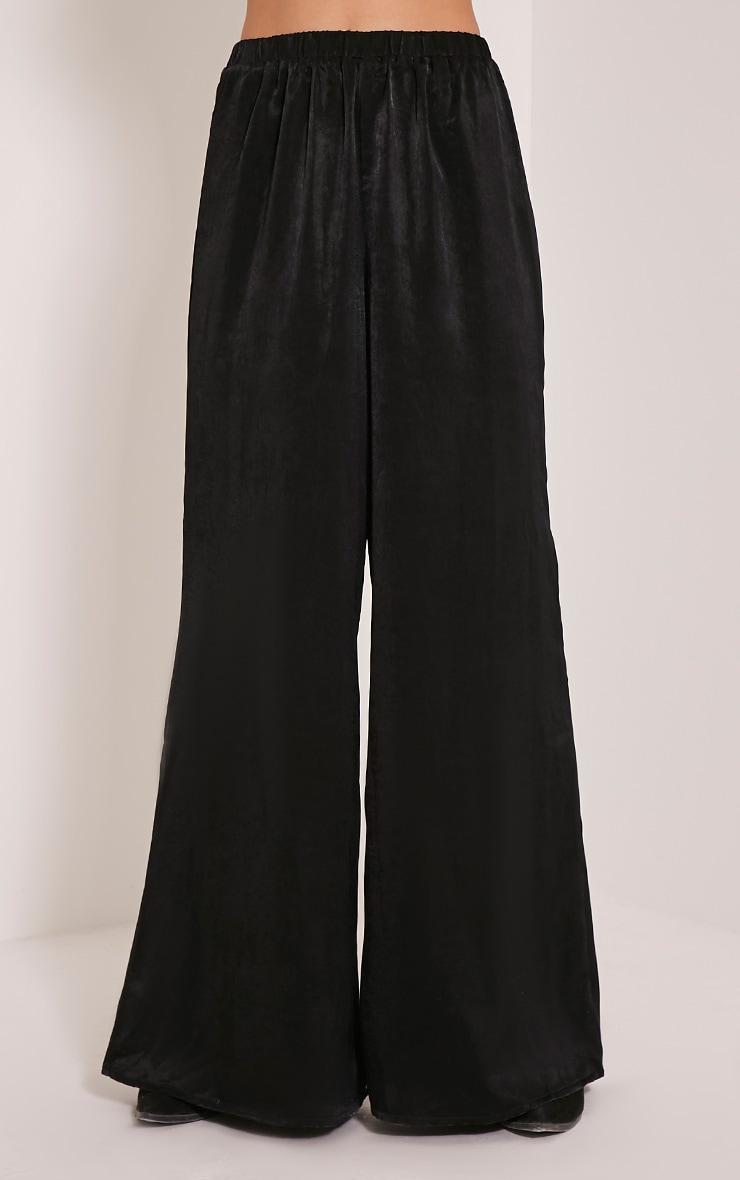 Mindi Black Satin Wide Leg Trousers 2