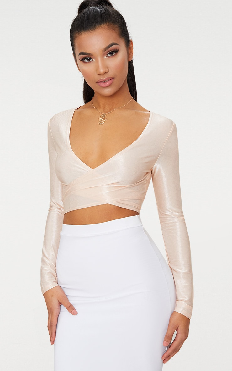 Blush Slinky Shimmer Tie Back Long Sleeve Crop Top
