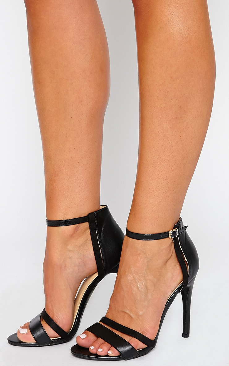 Cassia Black Strap Heeled Sandals 1