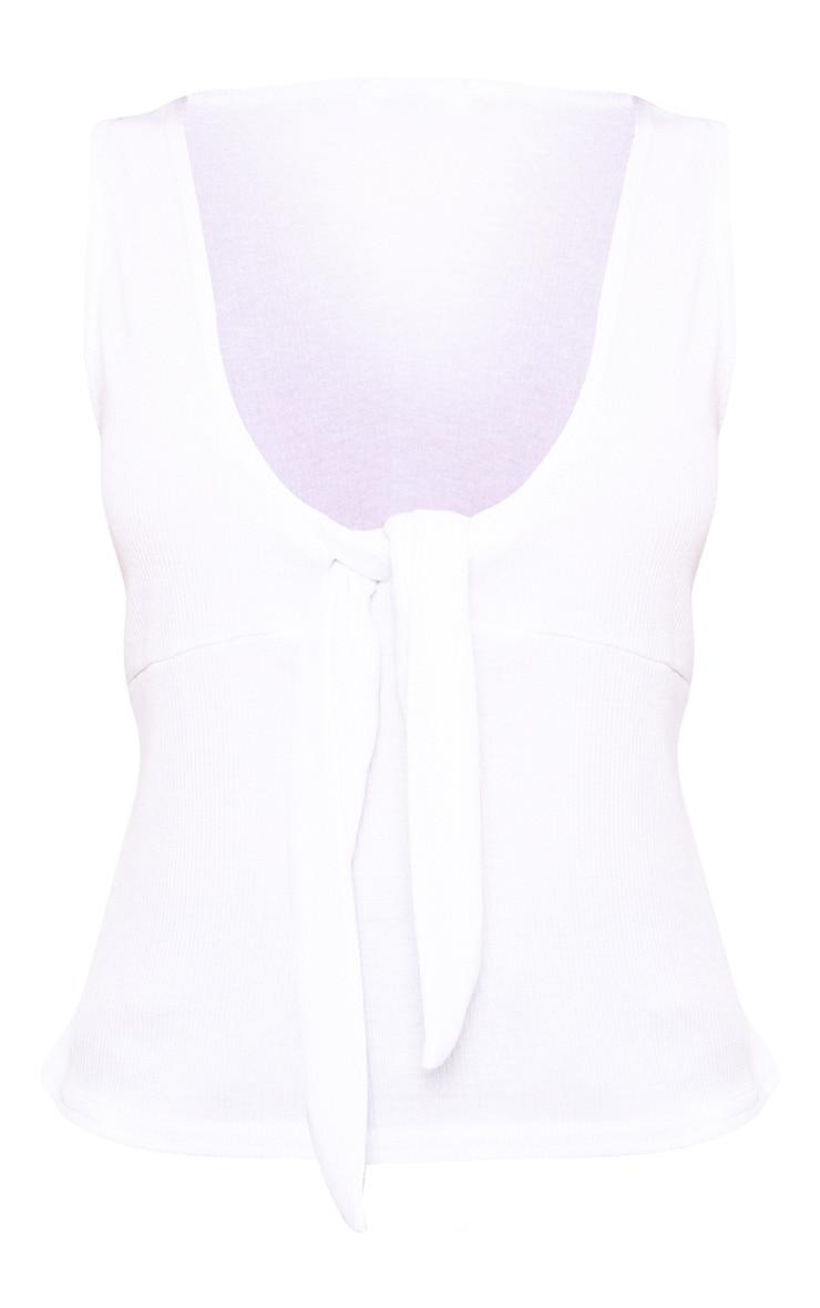 White Jersey Bow Tie Crop Top 4