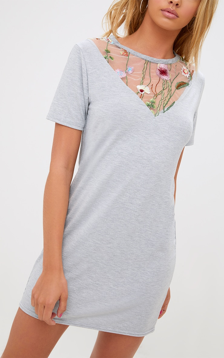 Grey Marl Embroidered Insert T Shirt Dress 5