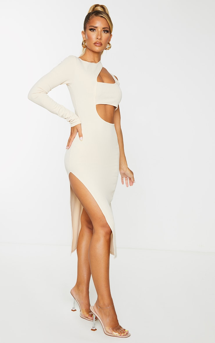Stone Ribbed One Shoulder Cut Out Detail Midi Dress 3