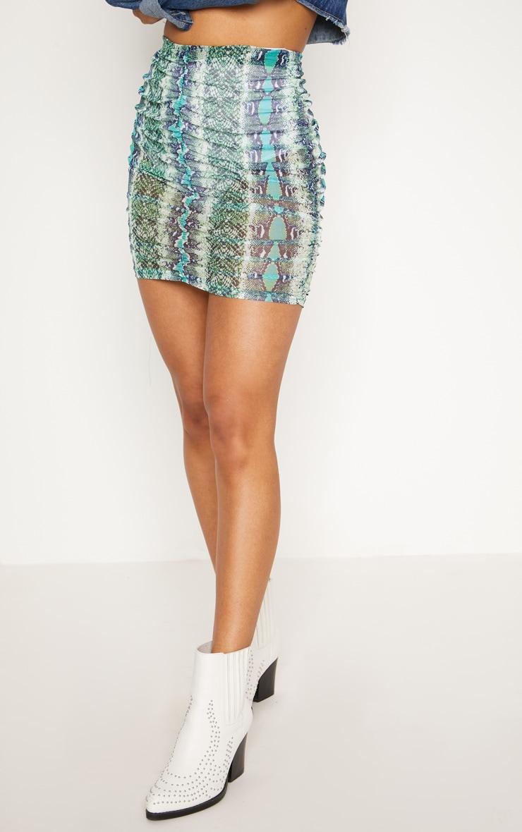 Green Mesh Snake Print Ruched Mini Skirt 2