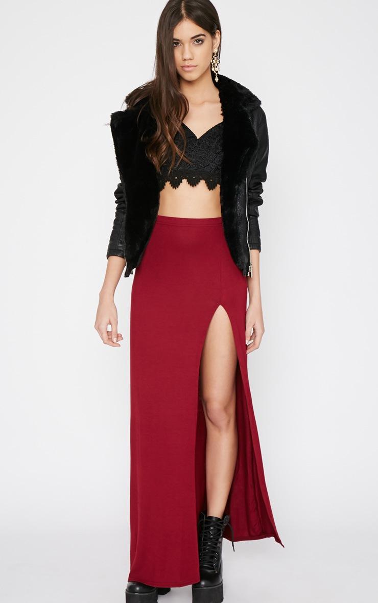 Albany Maroon Maxi Skirt  1