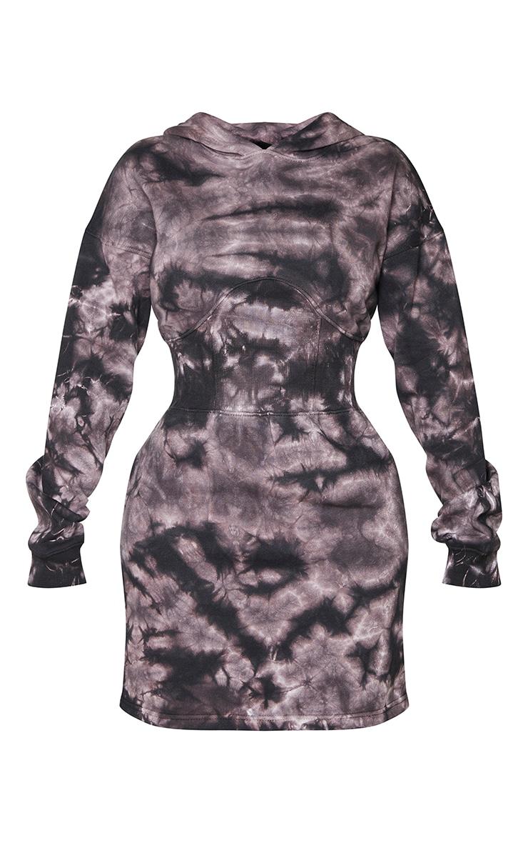 Shape Brown Tie Dye Corset Detail Sweat Jumper Dress 5