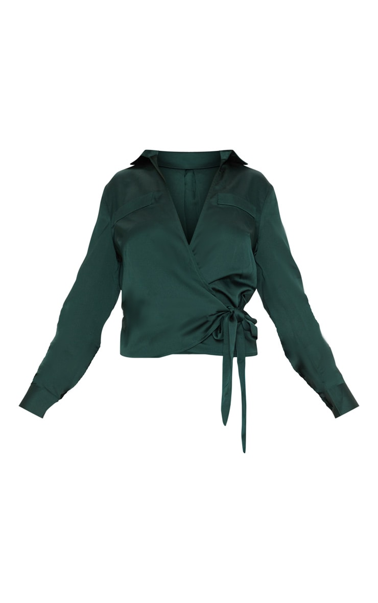 Petite - Top cache-coeur satiné vert émeraude 3