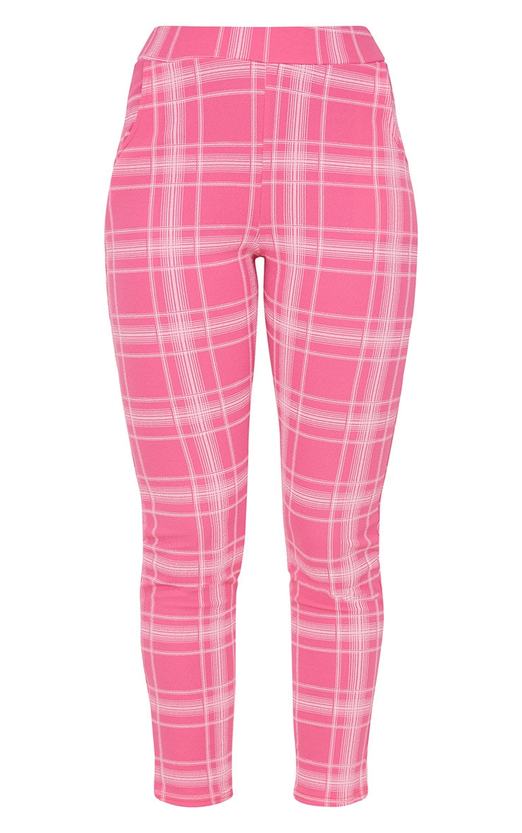 Pink Check Print Skinny Trousers 3
