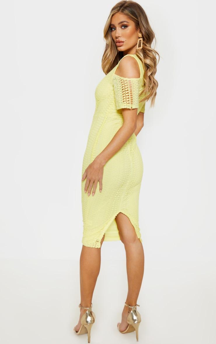 Lemon Lace Cold Shoulder Midi Dress 2