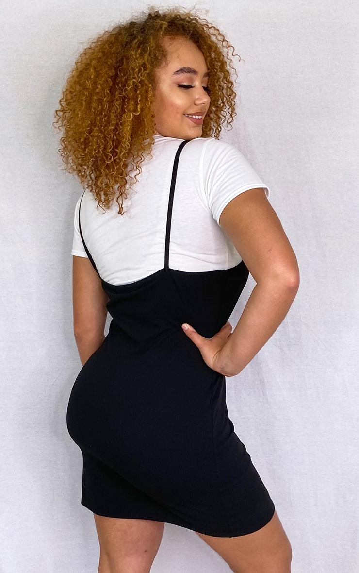 Plus Black 2 In 1 Strappy Split Front Shift Dress 2