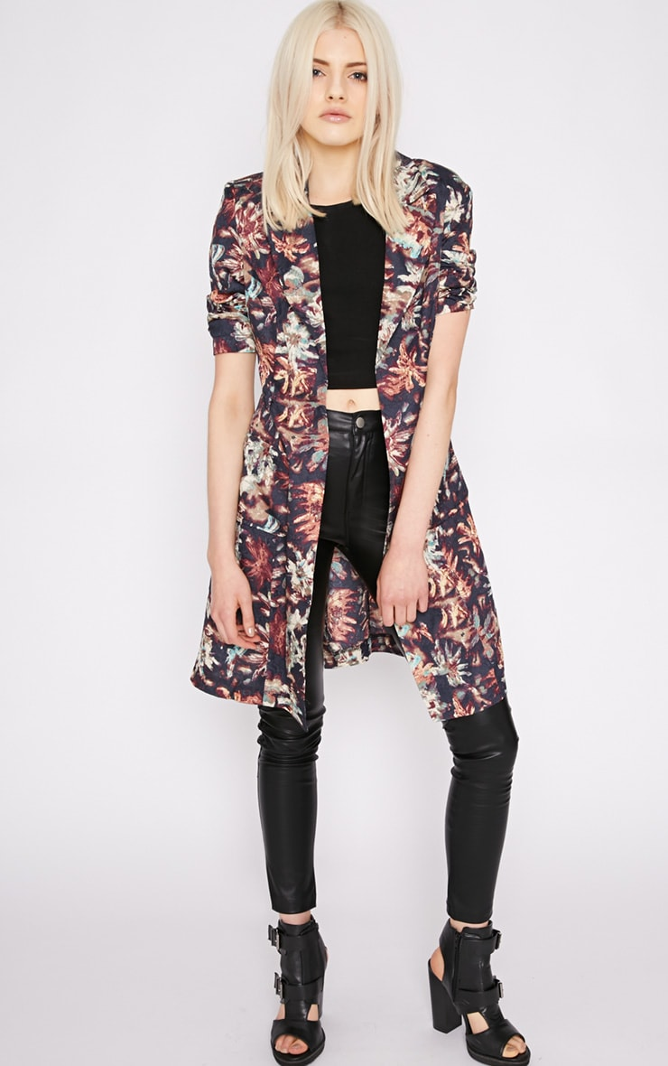 Patti Navy Floral Print Duster Jacket  5