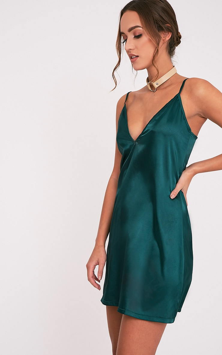 e594f222a717 Erin Emerald Green Plunge Satin Slip Dress | PrettyLittleThing