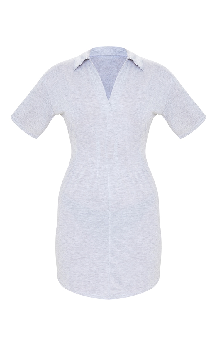 Grey Marl Polo Collar Pleated Detail Shift Dress 5