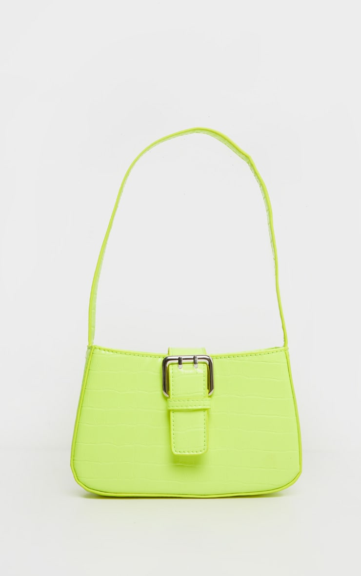 Lime Croc Buckle Front Shoulder Bag 2