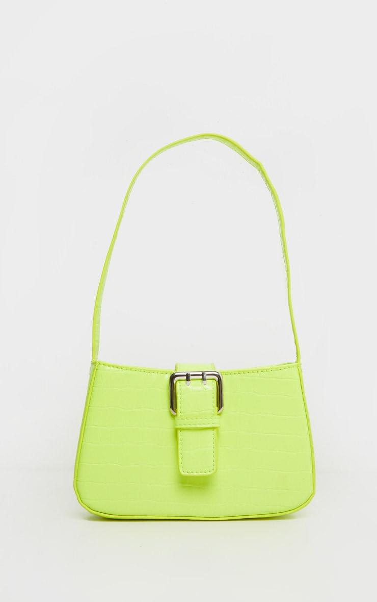 Lime Croc Buckle Front Shoulder Bag 2