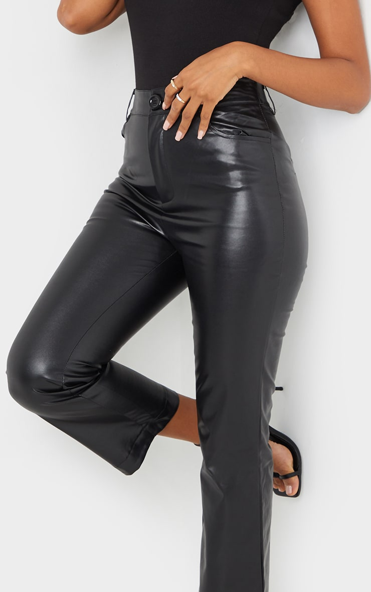 Black Faux Leather Cropped Trouser 4