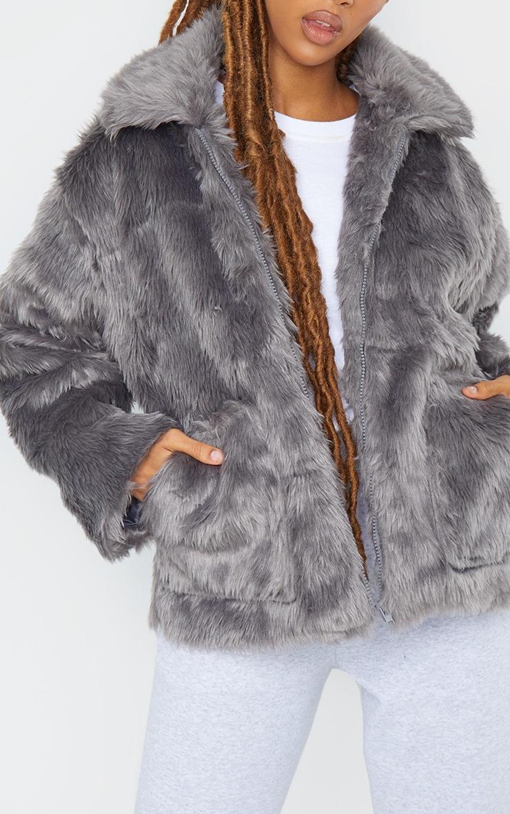 Dark Grey Long Faux Fur Pocket Front Jacket 4