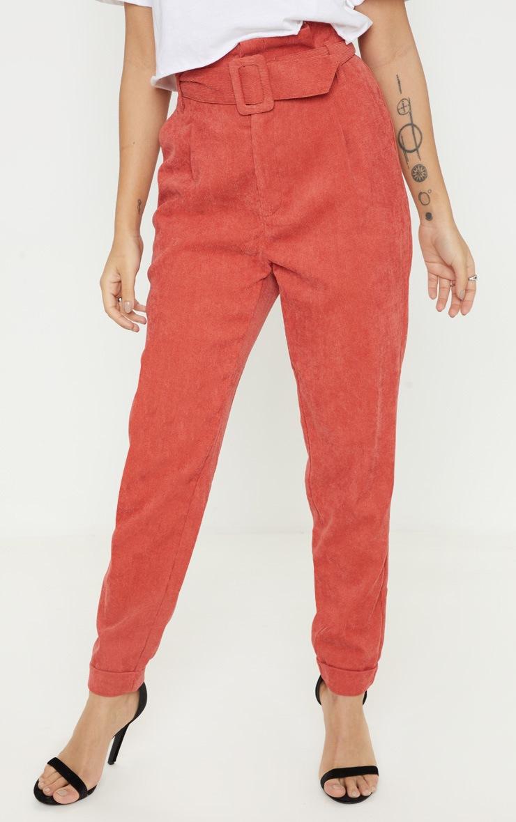 Petite Rust Cord Paper Bag Belted Pants 2