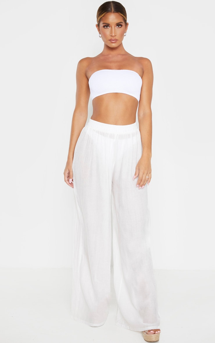 Ecru Wide Leg Beach Floaty Trouser 1
