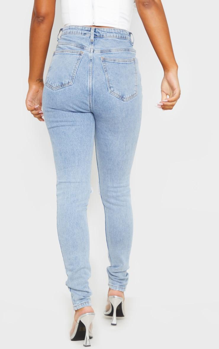 Blue Vintage Wash Distressed Skinny Jeans 4