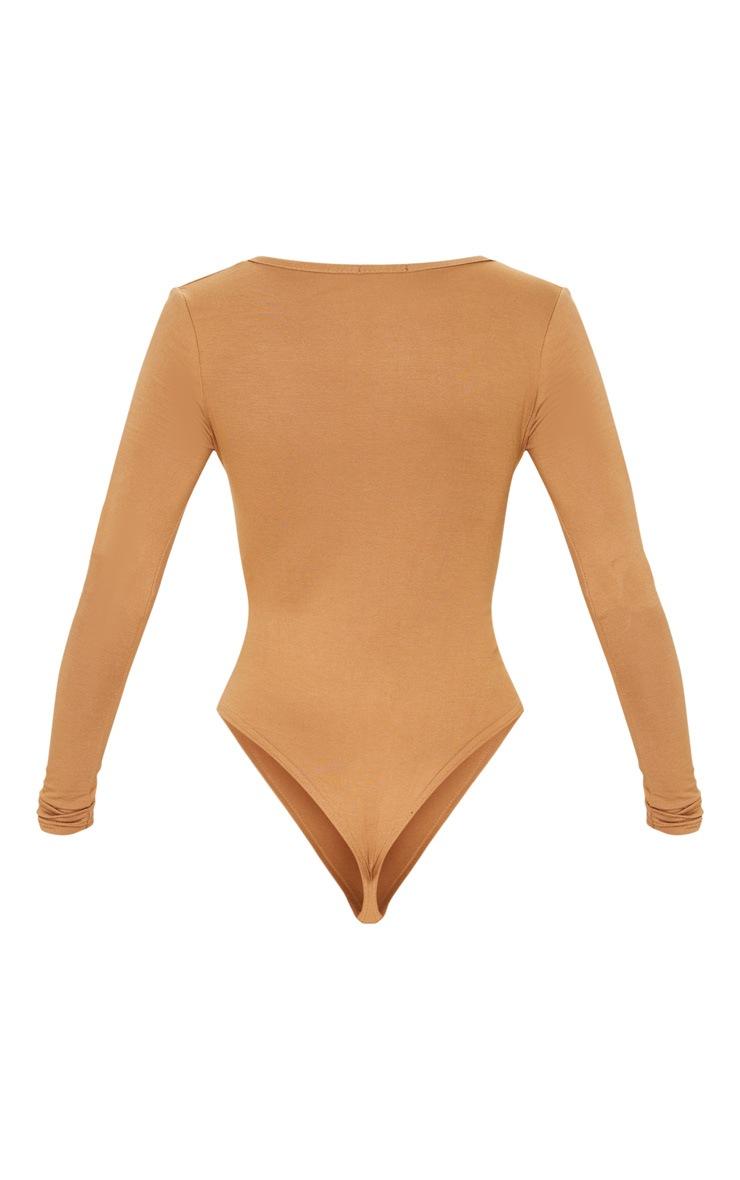 Basic Dark Camel Plunge Long Sleeve Bodysuit 4