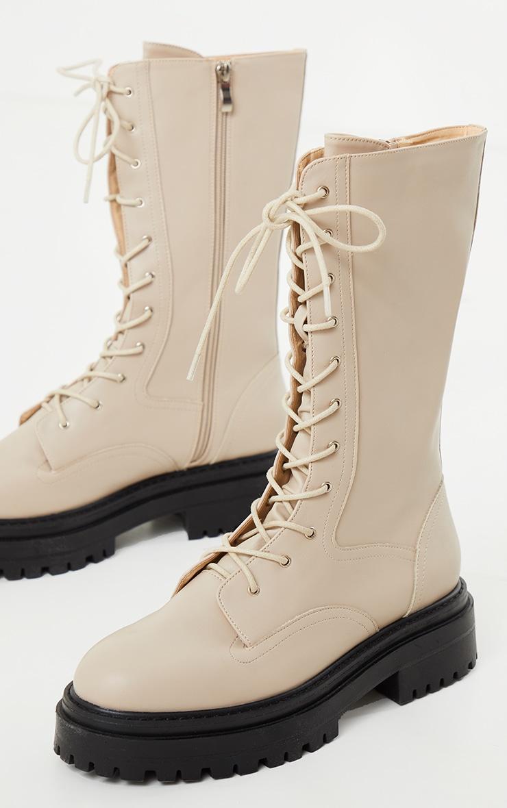 Cream Calf High Lace Up Chunky Biker Boots 3