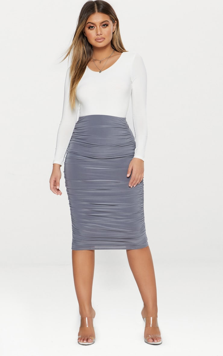 Grey Slinky Second Skin Ruched Midi Skirt 1
