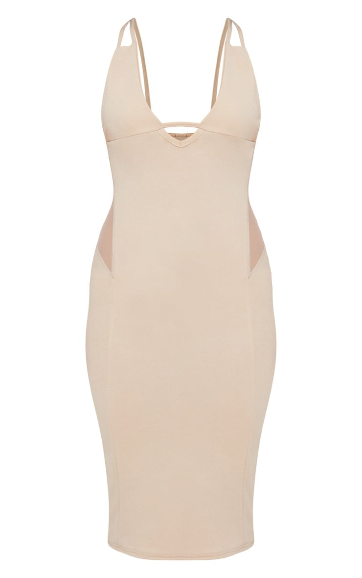 Nude Strappy Mesh Panel Midi Dress 3
