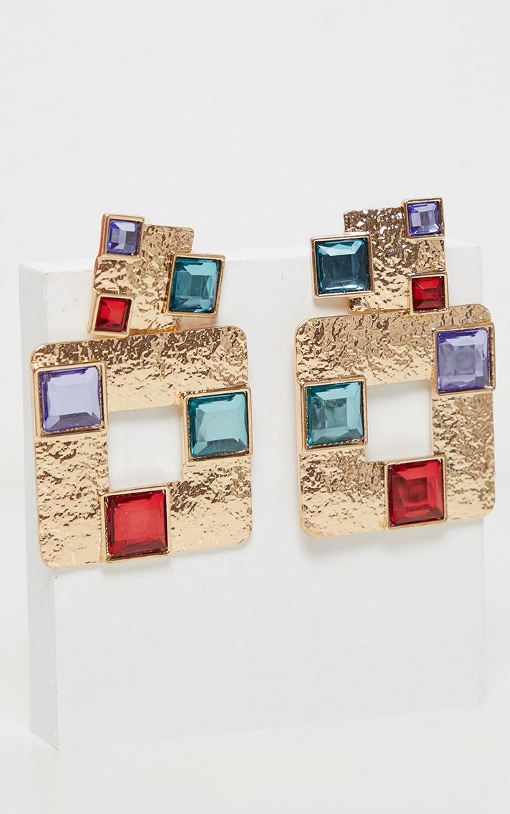 Gold Multi Gemstone Square Door Knocker Earring 2