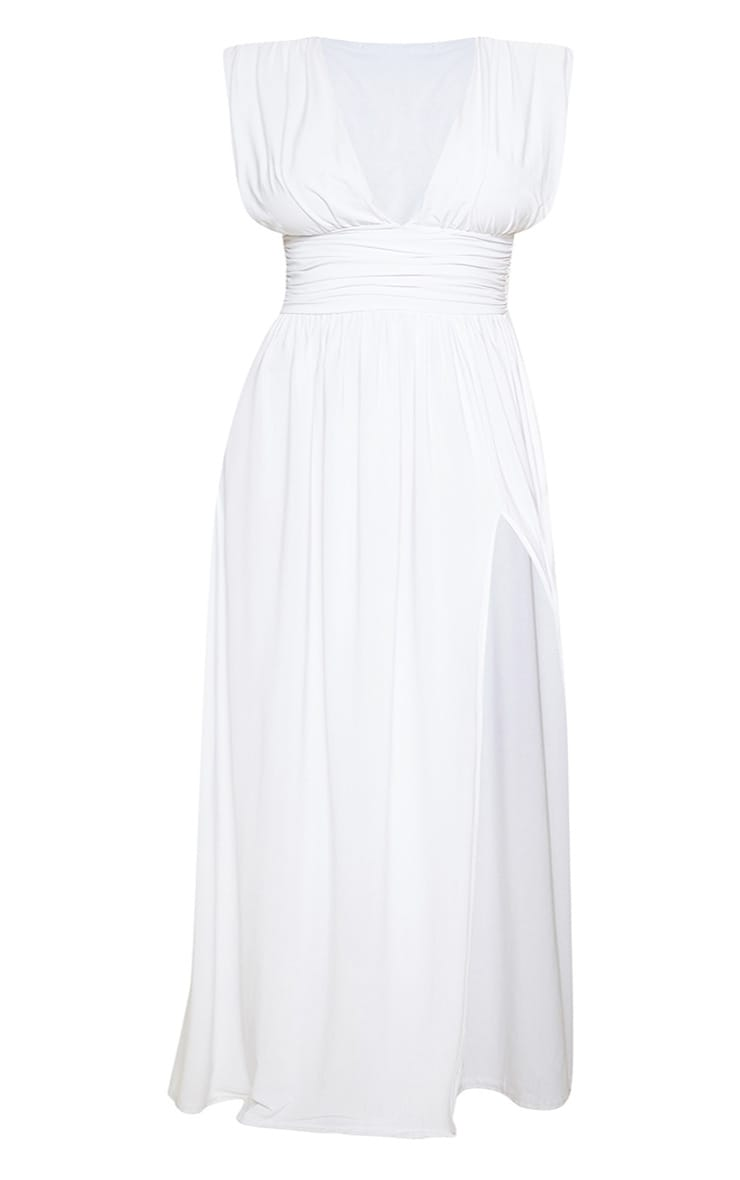 Plus White Ruched Plunge Maxi Dress 3